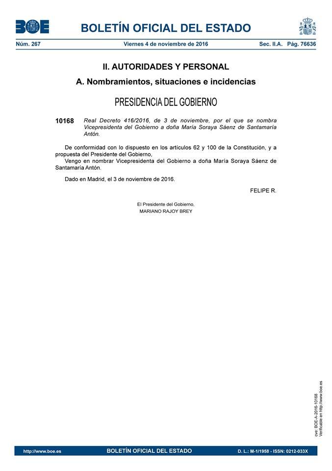 Real Decreto 416/2016, de 3 de noviembre