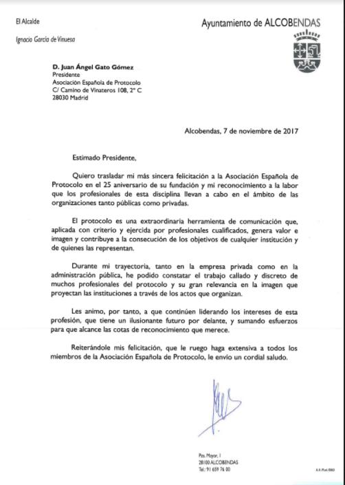 felicitacion Ignacio García de Vinuesa