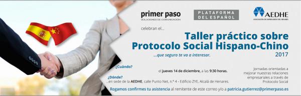 invitación al taller de protocolo hispano chino