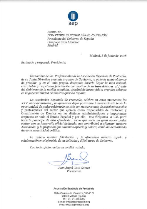 felicitación a Pedro Sánchez