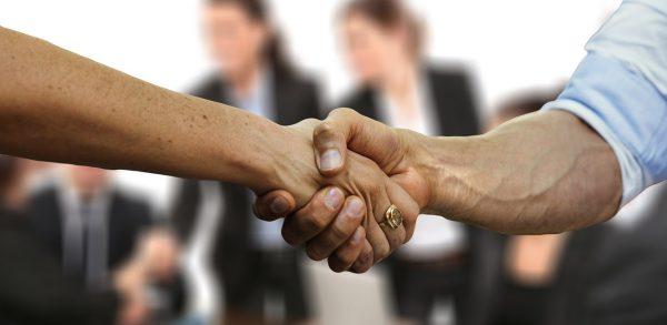 dar la mano, saludar